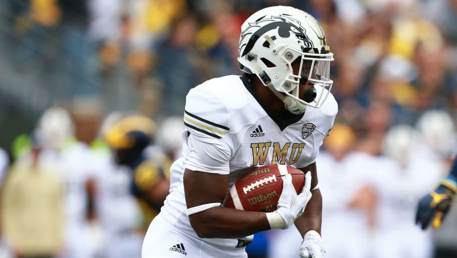 ANN ARBOR, MI - SEPTEMBER 08: Levante Bellamy #2 of the Western Michigan Broncos runs the ball during the game against the Michigan Wolverines at Michigan Stadium on September 8, 2018 in Ann Arbor, Michigan. (Photo by Rey Del Rio/Getty Images)
