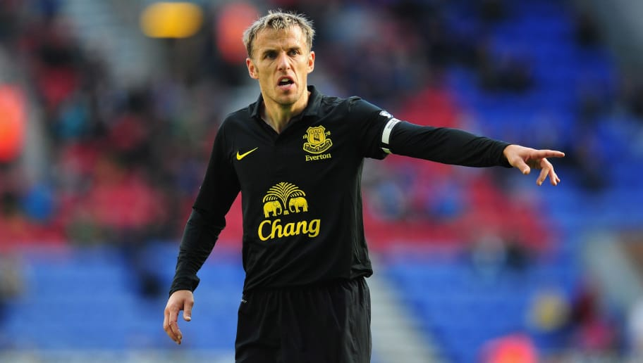 WIGAN, ENGLAND - OCTOBER 06:  Everton player Phil Neville reacts during the Barclays Premier League game between Wigan Athletic and Everton at DW Stadium on October 6, 2012 in Wigan, England.  (Photo by Stu Forster/Getty Images)