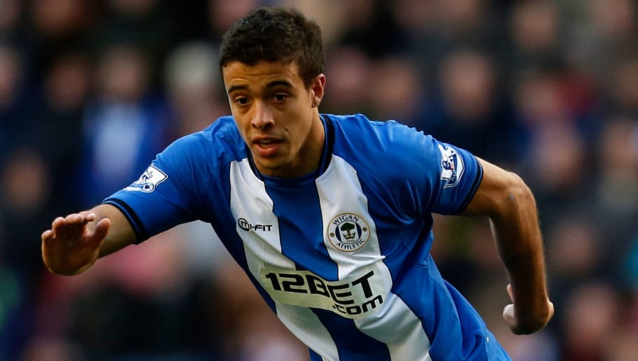 WIGAN, ENGLAND - OCTOBER 27:  Franco Di Santo of Wigan during the Barclays Premier League match between Wigan Athletic and West Ham United at the DW Stadium on October 27, 2012 in Wigan, England. (Photo by Paul Thomas/Getty Images)