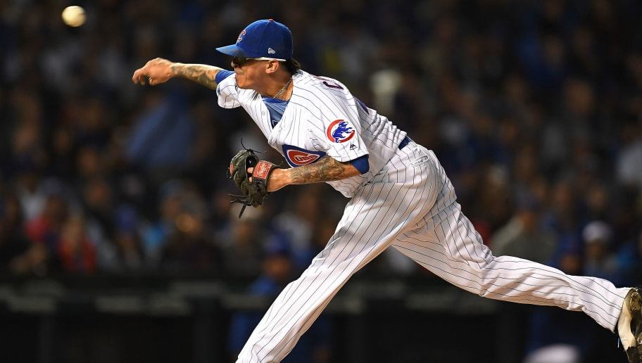 CHICAGO, IL - OCTOBER 02:  Jesse Chavez #43 of the Chicago Cubs throws a pitch during the National League Wild Card game against the Colorado Rockies at Wrigley Field on October 2, 2018 in Chicago, Illinois.  The Rockies defeated the Cubs 2-1 in 13 innings.  (Photo by Stacy Revere/Getty Images)