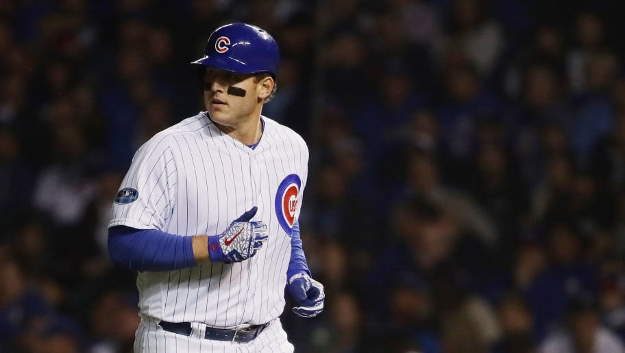 CHICAGO, IL - OCTOBER 02:  Anthony Rizzo #44 of the Chicago Cubs runs back to the dugout after grounding out in the fourth inning against the Colorado Rockies during the National League Wild Card Game at Wrigley Field on October 2, 2018 in Chicago, Illinois.  (Photo by Jonathan Daniel/Getty Images)
