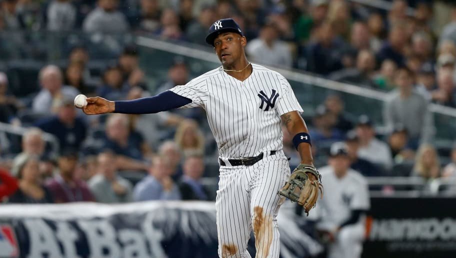 NEW YORK, NY - OCTOBER 03:  (NEW YORK DAILIES OUT)   Miguel Andujar #41 of the New York Yankees in action against the Oakland Athletics in the American League Wild Card Game at Yankee Stadium on October 3, 2018 in the Bronx borough of New York City. The Yankees defeated the Athletics 7-2.  (Photo by Jim McIsaac/Getty Images)