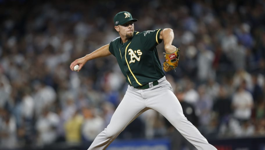 NEW YORK, NY - OCTOBER 3: Blake Treinen #39 of the Oakland Athletics pitches during the game against the New York Yankees in the American League Wild Card Game at Yankee Stadium on October 3, 2018 New York, New York. The Yankees defeated the Athletics 7-2. Zagaris/Oakland Athletics/Getty Images)