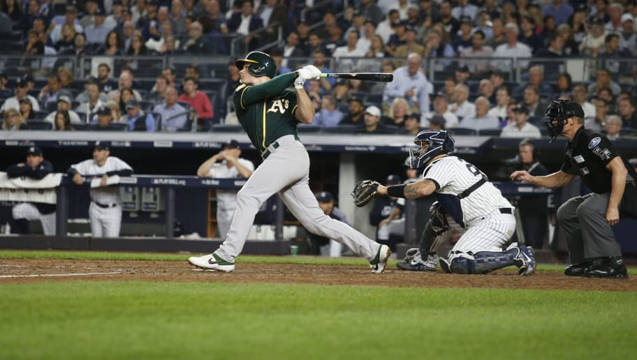 NEW YORK, NY - OCTOBER 3: Matt Chapman #26 of the Oakland Athletics bats during the game against the New York Yankees in the American League Wild Card Game at Yankee Stadium on October 3, 2018 New York, New York. The Yankees defeated the Athletics 7-2. Zagaris/Oakland Athletics/Getty Images)