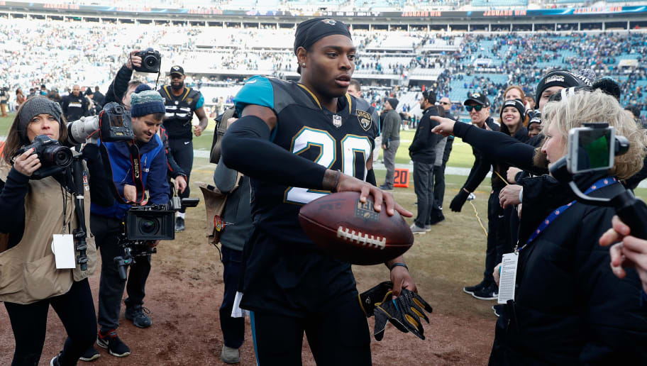 JACKSONVILLE, FL - JANUARY 07: Cornerback Jalen Ramsey #20 of the Jacksonville Jaguars celebrates following the Jaguars 10-3 win over the Buffalo Bills during the AFC Wild Card Playoff game at EverBank Field on January 7, 2018 in Jacksonville, Florida.  (Photo by Scott Halleran/Getty Images)