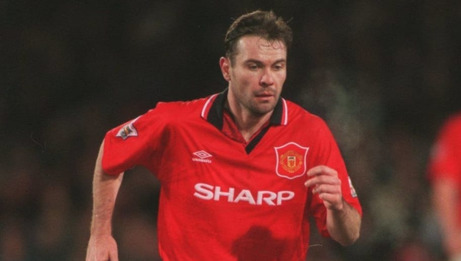 7 MAR 1995:  BRIAN MCCLAIR OF MANCHESTER UNITED IN ACTION DURING A PREMIERSHIP MATCH AGAINST WIMBLEDON AT SELHURST PARK. MANCHESTER WON THE GAME 1-0. Mandatory Credit: Mike Hewitt/ALLSPORT