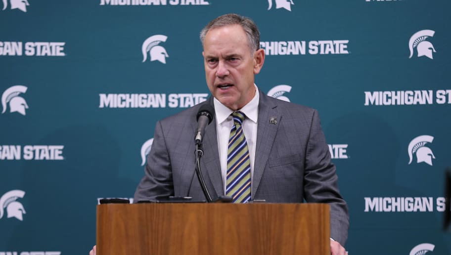 EAST LANSING, MI - JANUARY 26: Michigan State Spartans head football coach Mark Dantonio speaks to the media at a press conference before the Michigan State Spartans and Wisconsin Badgers basketball game at Breslin Center on January 26, 2018 in East Lansing, Michigan. Michigan State is facing criticism for its handling of sexual assault accusations on campus. (Photo by Rey Del Rio/Getty Images)