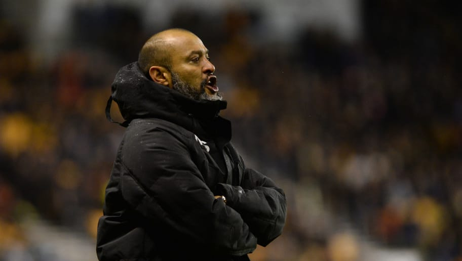 WOLVERHAMPTON, ENGLAND - NOVEMBER 22: Nuno Esperito Santo manager of Wolverhampton Wanderers looks on during the Sky Bet Championship match between Wolverhampton Wanderers and Leeds United at Molineux on November 22, 2017 in Wolverhampton, England. (Photo by Nathan Stirk/Getty Images)
