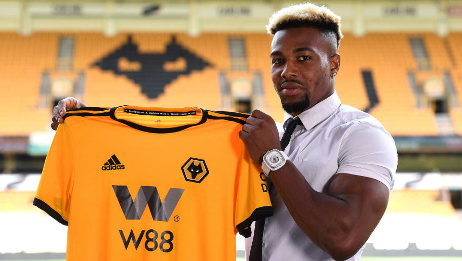 WOLVERHAMPTON, ENGLAND - AUGUST 07: Adama Traore poses during a portrait session as he is unveiled as a new signing for Wolverhampton Wanderers, at Molineux on August 7, 2018 in Wolverhampton, England. (Photo by Wolverhampton Wanderers FC/Getty Images)