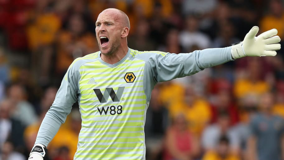 WALSALL, ENGLAND - JULY 19:  John Ruddy of Wolverhampton Wanderers shouts instructions during the pre seaon friendly match between Wolverhampton Wanderers and Ajax at the Banks' Stadium on July 19, 2018 in Walsall, England.  (Photo by David Rogers/Getty Images)