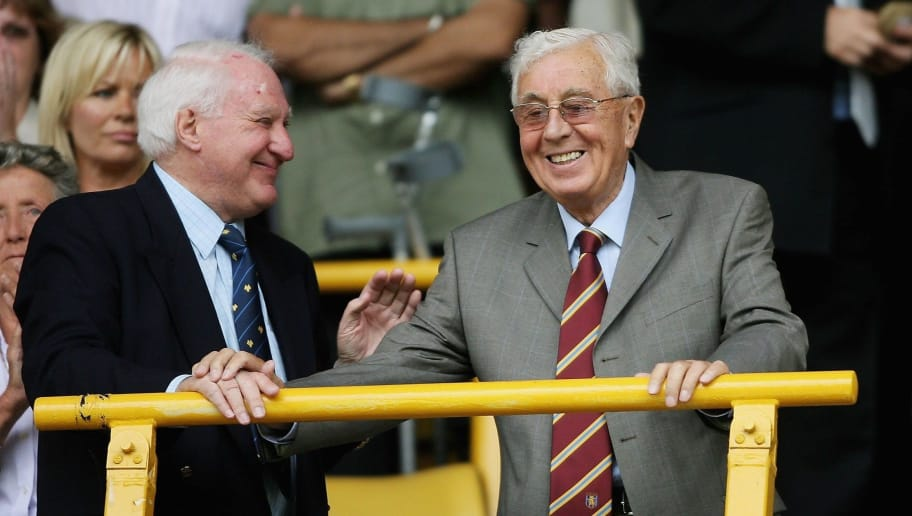WOLVERHAMPTON, UNITED KINGDOM - JULY 29:  Aston Villa chairman Doug Ellis (r) with Wolves President Sir Jack Haywood watch the teams come out during the Pre-season friendly match between Wolverhampton Wanderers and Aston Villa at Molineux on July 29, 2006 in Wolverhampton, England.  (Photo by Stu Forster/Getty Images)