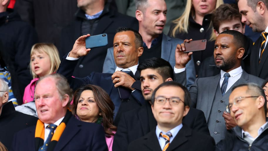 WOLVERHAMPTON, ENGLAND - APRIL 15: Football agent Jorge Mendes takes a photo during the Sky Bet Championship match between Wolverhampton Wanderers and Birmingham City at Molineux on April 15, 2018 in Wolverhampton, England. (Photo by Catherine Ivill/Getty Images)