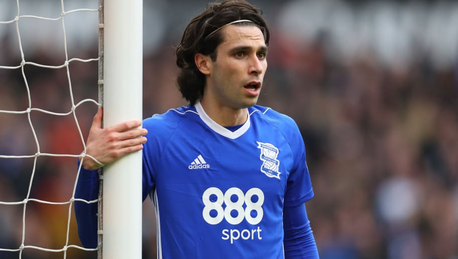 WOLVERHAMPTON, ENGLAND - APRIL 15: Jota of Birmingham City during the Sky Bet Championship match between Wolverhampton Wanderers and Birmingham City at Molineux on April 15, 2018 in Wolverhampton, England. (Photo by Catherine Ivill/Getty Images)