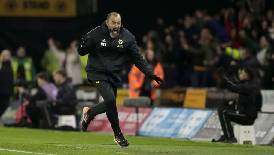 WOLVERHAMPTON, ENGLAND - DECEMBER 05: Wolverhampton Wanderers manager Nuno Espirito Santo celebrates a goal during the Premier League match between Wolverhampton Wanderers and Chelsea FC at Molineux on December 05, 2018 in Wolverhampton, United Kingdom. (Photo by Malcolm Couzens/Getty Images)