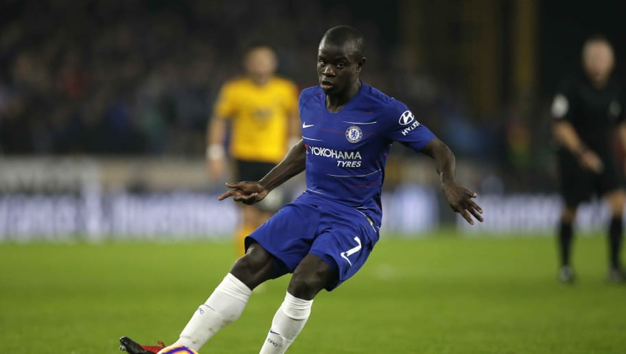 WOLVERHAMPTON, ENGLAND - DECEMBER 05: N'Golo Kante of Chelsea in action during the Premier League match between Wolverhampton Wanderers and Chelsea FC at Molineux on December 05, 2018 in Wolverhampton, United Kingdom. (Photo by Malcolm Couzens/Getty Images)