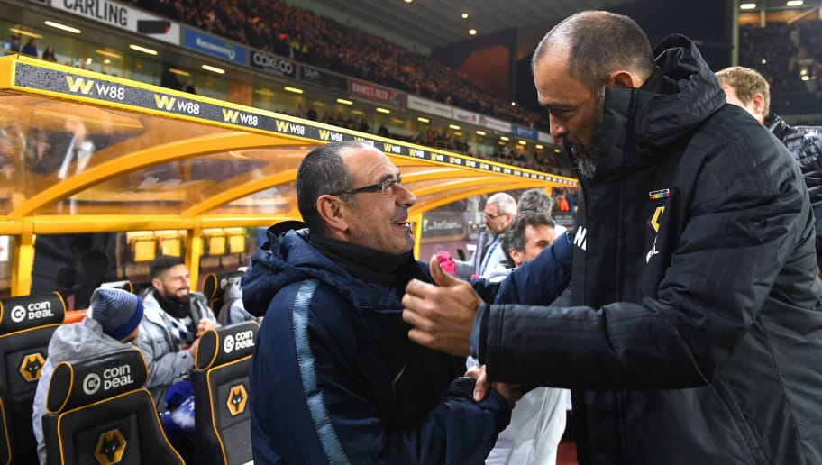 WOLVERHAMPTON, ENGLAND - DECEMBER 05: Maurizio Sarri head coach / manager of Chelsea and Nuno Espirito Santo the head coach / manager of Wolverhampton Wanderers during the Premier League match between Wolverhampton Wanderers and Chelsea FC at Molineux on December 5, 2018 in Wolverhampton, United Kingdom. (Photo by Sam Bagnall - AMA/Getty Images)