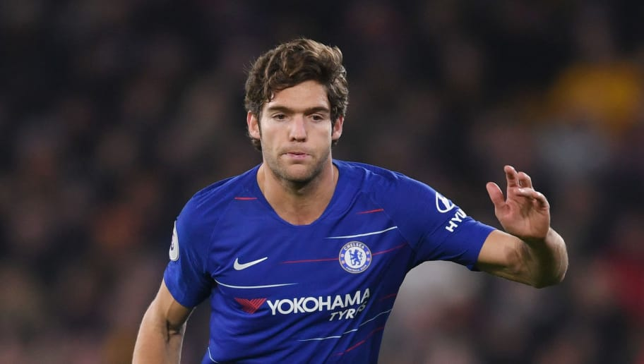 WOLVERHAMPTON, ENGLAND - DECEMBER 05: Marcos Alonso of Chelsea runs with the ball during the Premier League match between Wolverhampton Wanderers and Chelsea FC at Molineux on December 05, 2018 in Wolverhampton, United Kingdom. (Photo by Laurence Griffiths/Getty Images)