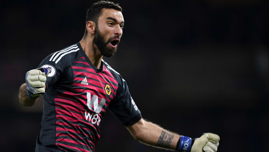 WOLVERHAMPTON, ENGLAND - DECEMBER 05:  Rui Patricio of Wolverhampton Wanderers celebrates during the Premier League match between Wolverhampton Wanderers and Chelsea FC at Molineux on December 5, 2018 in Wolverhampton, United Kingdom.  (Photo by Shaun Botterill/Getty Images)
