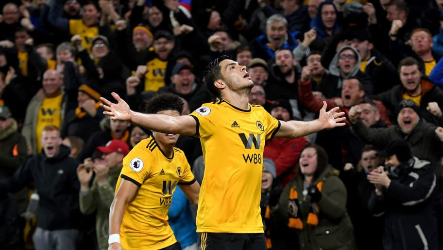WOLVERHAMPTON, ENGLAND - DECEMBER 05: Raul Jimenez of Wolverhampton Wanderers celebrates after scoring a goal to make it 1-1 during the Premier League match between Wolverhampton Wanderers and Chelsea FC at Molineux on December 5, 2018 in Wolverhampton, United Kingdom. (Photo by Sam Bagnall - AMA/Getty Images)