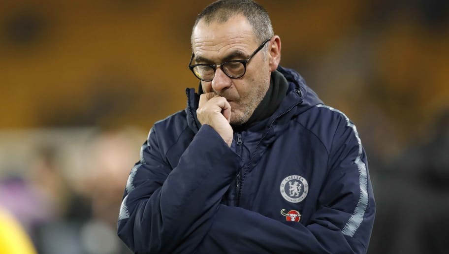 WOLVERHAMPTON, ENGLAND - DECEMBER 05: Chelsea manager Maurizio Sarri looks on during the Premier League match between Wolverhampton Wanderers and Chelsea FC at Molineux on December 05, 2018 in Wolverhampton, United Kingdom. (Photo by Malcolm Couzens/Getty Images)