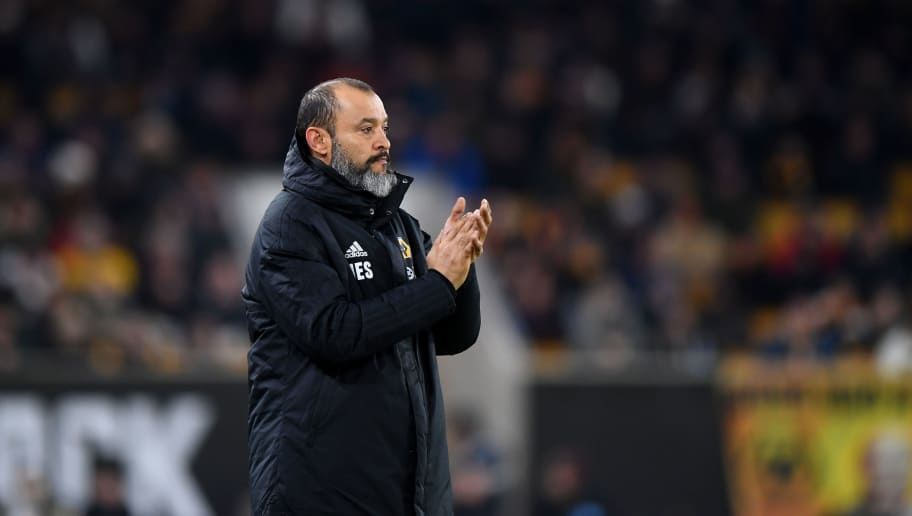 WOLVERHAMPTON, ENGLAND - JANUARY 02: Nuno Espirito Santo the head coach / manager of Wolverhampton Wanderers during the Premier League match between Wolverhampton Wanderers and Crystal Palace at Molineux on January 2, 2019 in Wolverhampton, United Kingdom. (Photo by Sam Bagnall - AMA/Getty Images)