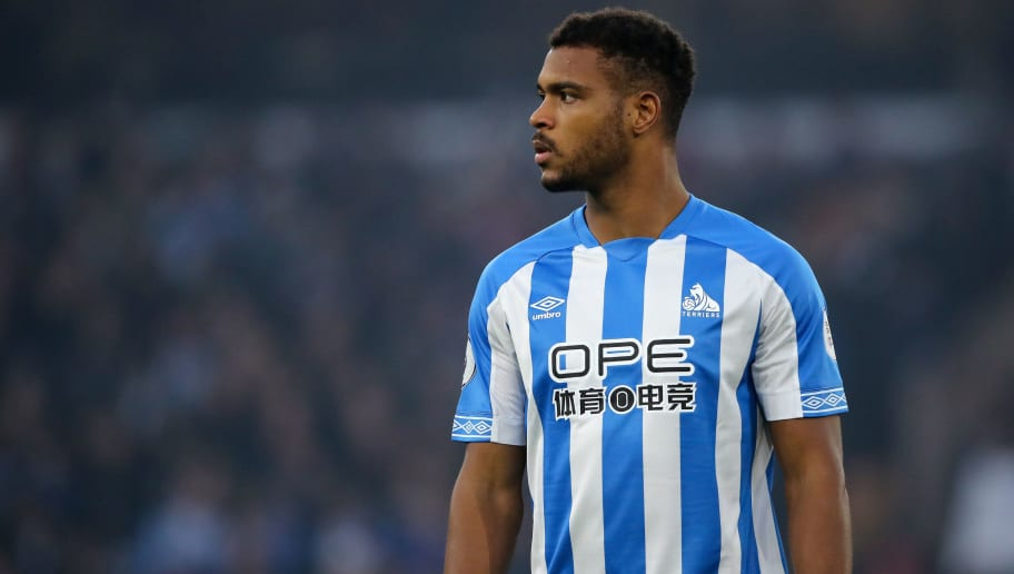 WOLVERHAMPTON, ENGLAND - NOVEMBER 25: Steve Mounie of Huddersfield Town during the Premier League match between Wolverhampton Wanderers and Huddersfield Town at Molineux on November 25, 2018 in Wolverhampton, United Kingdom. (Photo by Matthew Ashton - AMA/Getty Images)