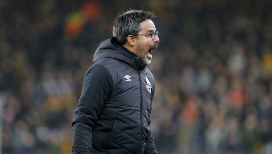 WOLVERHAMPTON, ENGLAND - NOVEMBER 25: David Wagner the head coach of Huddersfield Town celebrates his side's winner during the Premier League match between Wolverhampton Wanderers and Huddersfield Town at Molineux on November 25, 2018 in Wolverhampton, United Kingdom. (Photo by John Early/Getty Images)
