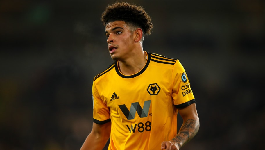 WOLVERHAMPTON, ENGLAND - NOVEMBER 25: Morgan Gibbs-White of Wolverhampton Wanderers during the Premier League match between Wolverhampton Wanderers and Huddersfield Town at Molineux on November 25, 2018 in Wolverhampton, United Kingdom. (Photo by Robbie Jay Barratt - AMA/Getty Images)