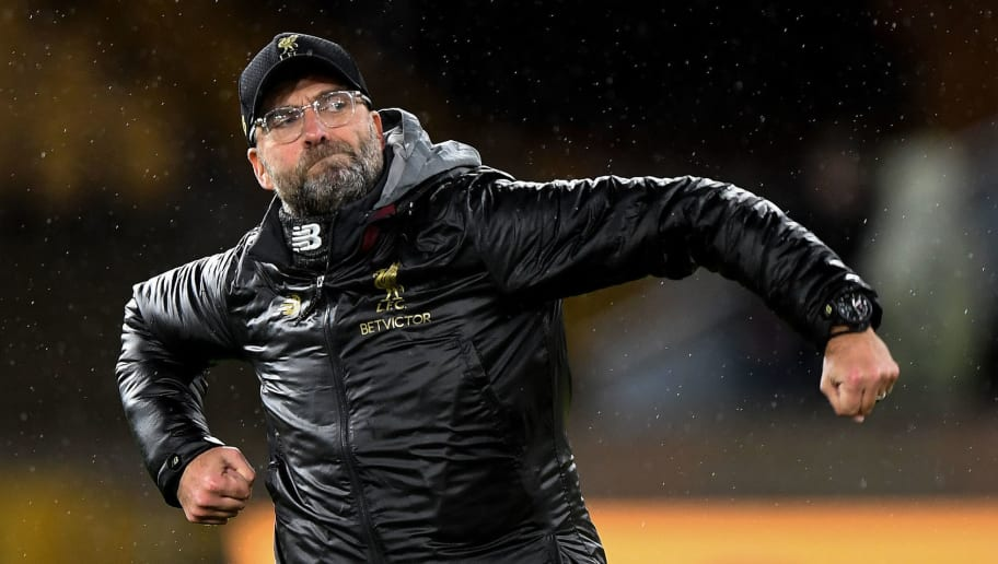 WOLVERHAMPTON, ENGLAND - DECEMBER 21: Jurgen Klopp the head coach / manager of Liverpool celebrates at full time during the Premier League match between Wolverhampton Wanderers and Liverpool FC at Molineux on December 21, 2018 in Wolverhampton, United Kingdom. (Photo by Sam Bagnall - AMA/Getty Images)