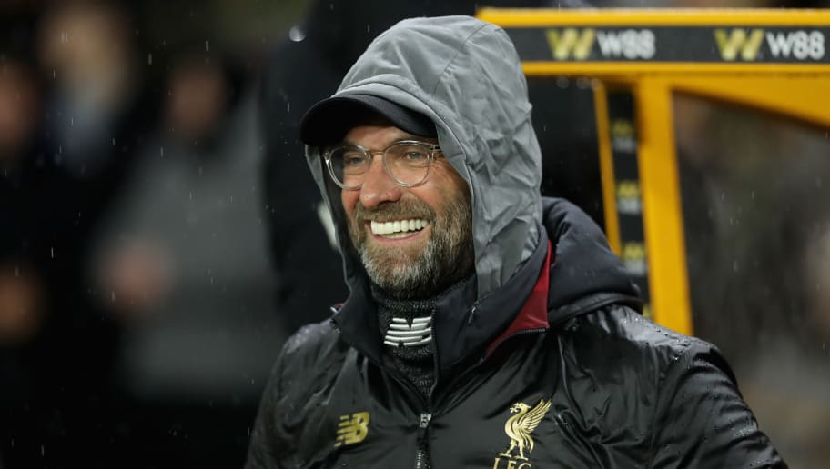 WOLVERHAMPTON, ENGLAND - DECEMBER 21:  Jurgen Klopp, the Liverpool manager looks on during the Premier League match between Wolverhampton Wanderers and Liverpool FC at Molineux on December 21, 2018 in Wolverhampton, United Kingdom.  (Photo by David Rogers/Getty Images)