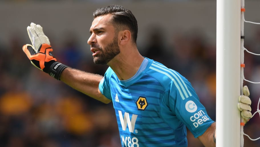 WOLVERHAMPTON, ENGLAND - AUGUST 25:  Rui Patricio of Woverhampton Wanderers shout instructions during the Premier League match between Wolverhampton Wanderers and Manchester City at Molineux on August 25, 2018 in Wolverhampton, United Kingdom.  (Photo by Shaun Botterill/Getty Images)