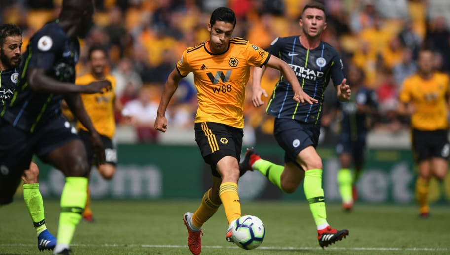 WOLVERHAMPTON, ENGLAND - AUGUST 25:  Wolves forward Raul Jiminez in action during the Premier League match between Wolverhampton Wanderers and Manchester City at Molineux on August 25, 2018 in Wolverhampton, United Kingdom.  (Photo by Stu Forster/Getty Images)
