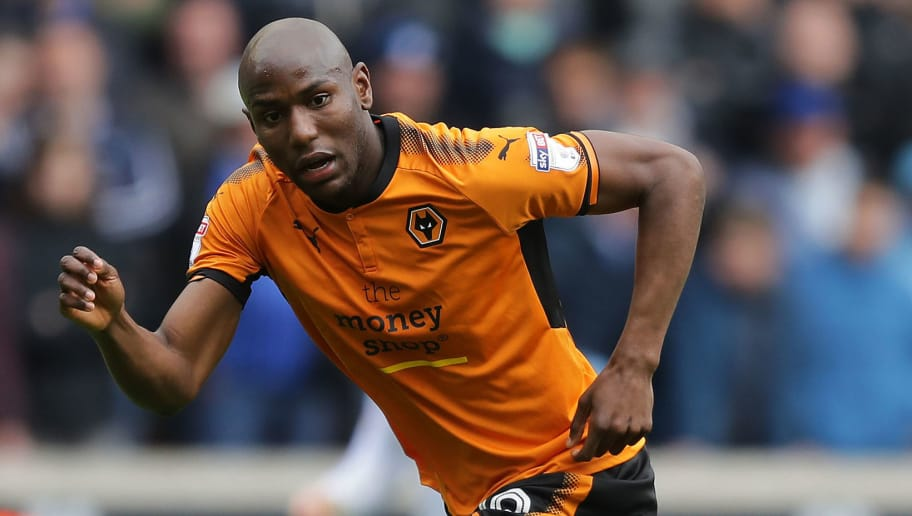 WOLVERHAMPTON, ENGLAND - APRIL 28: Benik Afobe of Wolverhampton Wanderers in action during the Sky Bet Championship match between Wolverhampton Wanderers and Sheffield Wednesday at Molineux on April 28, 2018 in Wolverhampton, England. (Photo by Richard Heathcote/Getty Images)