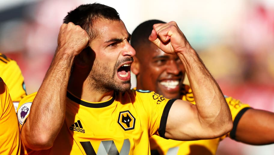 WOLVERHAMPTON, ENGLAND - SEPTEMBER 29:  Jonny Otto of Wolverhampton Wanderers celebrates scoring his sides second goal with teammates during the Premier League match between Wolverhampton Wanderers and Southampton FC at Molineux on September 29, 2018 in Wolverhampton, United Kingdom.  (Photo by Matthew Lewis/Getty Images)