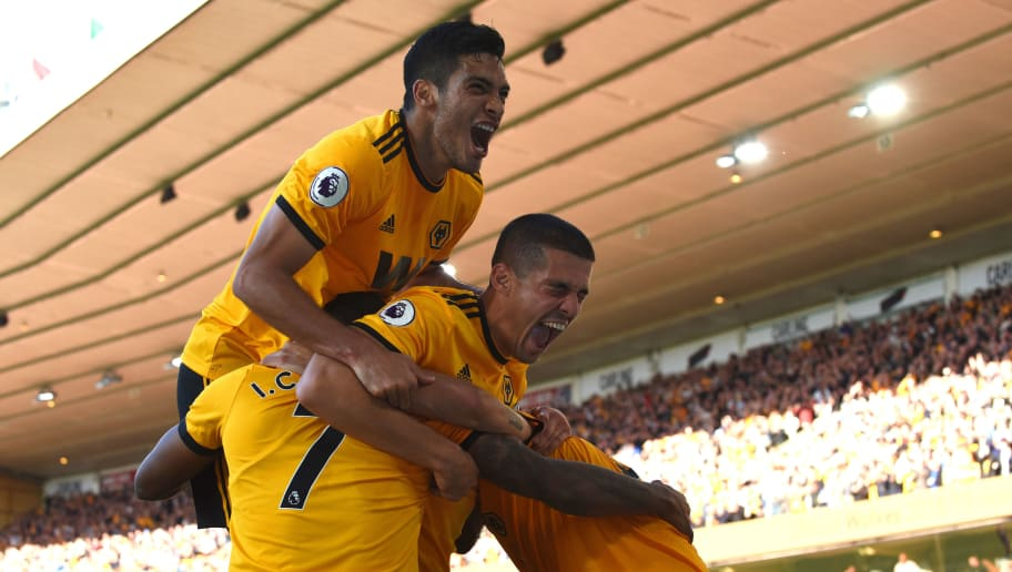 WOLVERHAMPTON, ENGLAND - SEPTEMBER 29: Ivan Cavaleiro of Wolverhampton Wanderers celebrates after scoring a goal to make it 1-0 during the Premier League match between Wolverhampton Wanderers and Southampton FC at Molineux on September 29, 2018 in Wolverhampton, United Kingdom. (Photo by Sam Bagnall - AMA/Getty Images)