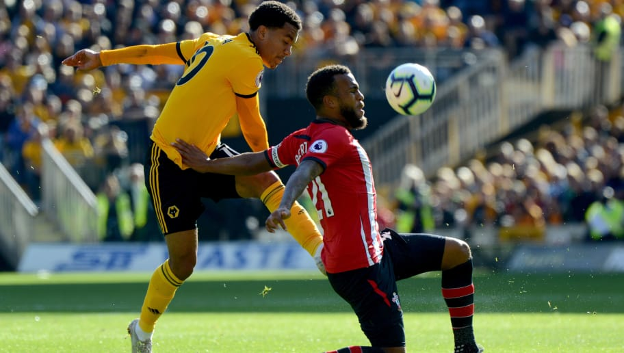 WOLVERHAMPTON, ENGLAND - SEPTEMBER 29: Ryan Bertrand of Southampton and Helder Costa of Wolverhampton Wanderers during the Premier League match between Wolverhampton Wanderers and Southampton FC at Molineux on September 29, 2018 in Wolverhampton, United Kingdom. (Photo by Sam Bagnall - AMA/Getty Images)