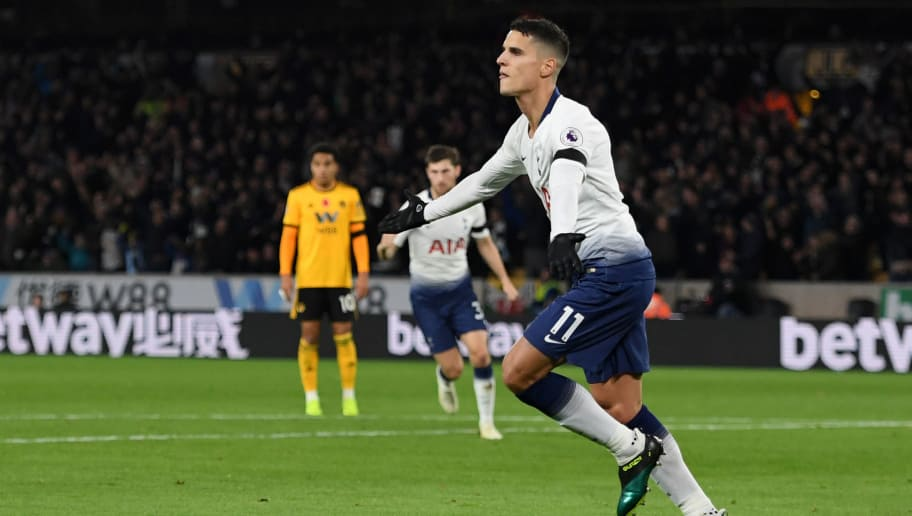 WOLVERHAMPTON, ENGLAND - NOVEMBER 03:  Erik Lamela of Tottenham Hotspur celebrates after scoring his team's first goal during the Premier League match between Wolverhampton Wanderers and Tottenham Hotspur at Molineux on November 3, 2018 in Wolverhampton, United Kingdom.  (Photo by Ross Kinnaird/Getty Images)