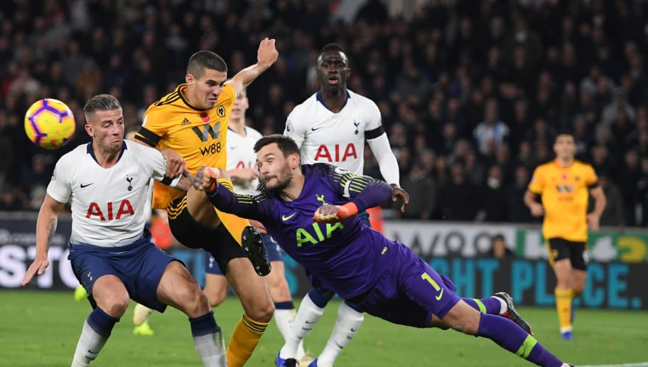 WOLVERHAMPTON, ENGLAND - NOVEMBER 03:  Hugo Lloris of Tottenham Hotspur makes a save from Conor Coady of Wolverhampton Wanderers during the Premier League match between Wolverhampton Wanderers and Tottenham Hotspur at Molineux on November 3, 2018 in Wolverhampton, United Kingdom.  (Photo by Ross Kinnaird/Getty Images)
