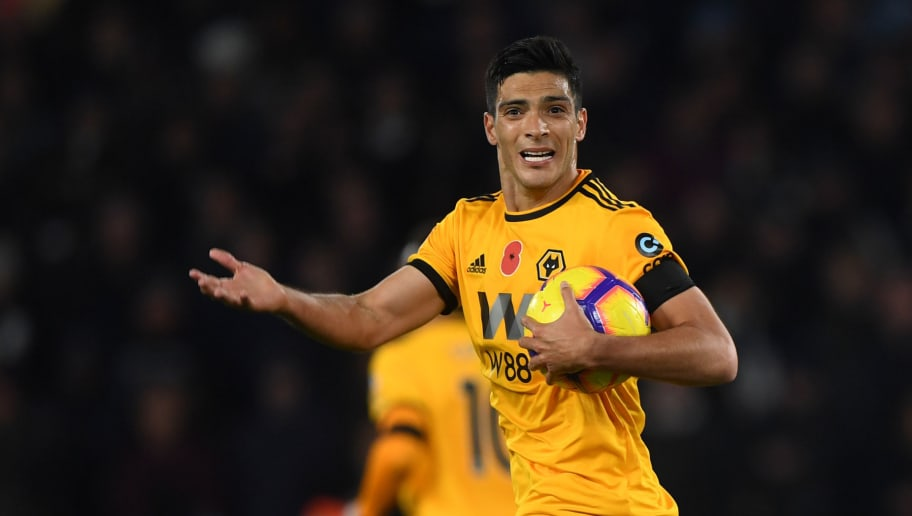 WOLVERHAMPTON, ENGLAND - NOVEMBER 03: Raul Jimenez of Wolverhampton Wanderers celebrates after scoring a goal to make it 2-3 from a penalty kick during the Premier League match between Wolverhampton Wanderers and Tottenham Hotspur at Molineux on November 3, 2018 in Wolverhampton, United Kingdom. (Photo by Sam Bagnall - AMA/Getty Images)