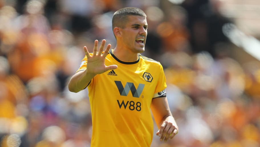 WOLVERHAMPTON, ENGLAND - AUGUST 04:  Conor Coady of Wolverhampton Wanderers issues instructions during the pre-season friendly match between Wolverhampton Wanderers and Villareal at Molineux on August 4, 2018 in Wolverhampton, England.  (Photo by David Rogers/Getty Images)