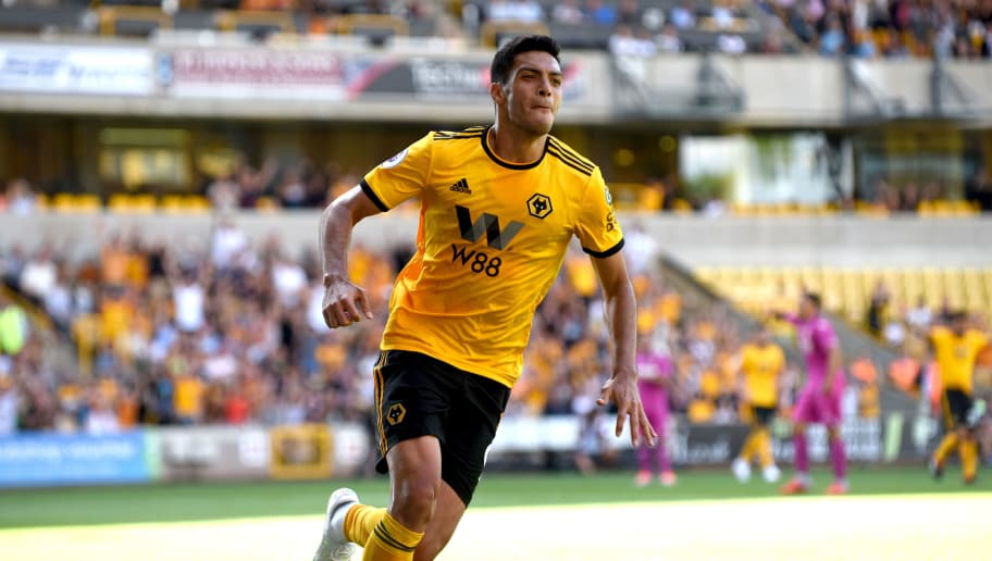 WOLVERHAMPTON, ENGLAND - AUGUST 04: Raul Jimenez of Wolverhampton Wanderers celebrates after scoring a goal to make it 2-1 during a pre-season friendly between Wolverhampton Wanderers and Villarreal at Molineux on August 4, 2018 in Wolverhampton, England. (Photo by Sam Bagnall - AMA/Getty Images)