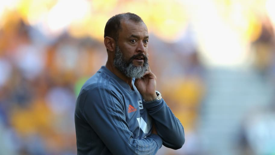 WOLVERHAMPTON, ENGLAND - AUGUST 04:  Nuno Espirito Santo, the Wolverhampton Wanderers manager looks on during the pre-season friendly match between Wolverhampton Wanderers and Villareal at Molineux on August 4, 2018 in Wolverhampton, England.  (Photo by David Rogers/Getty Images)
