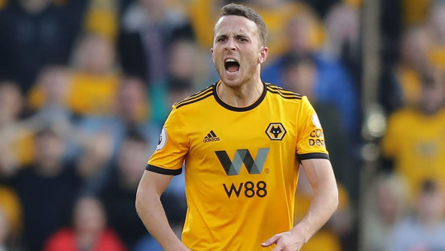 WOLVERHAMPTON, ENGLAND - OCTOBER 20:  Diogo Jota of Wolverhampton Wanderers reacts during the Premier League match between Wolverhampton Wanderers and Watford FC at Molineux on October 20, 2018 in Wolverhampton, United Kingdom.  (Photo by Richard Heathcote/Getty Images)