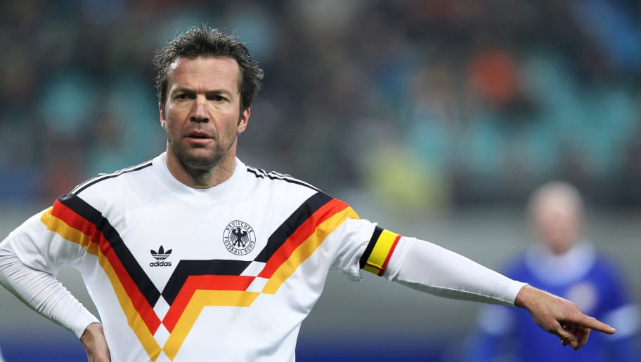 LEIPZIG, GERMANY - NOVEMBER 20:  Lothar Matthaeus of the World Champion 1990 gestures during the Reunification match between the World Champion 1990 and the DFV Legend at the Red Bull Arena on November 20, 2010 in Leipzig, Germany.  (Photo by Ronny Hartmann/Bongarts/Getty Images)