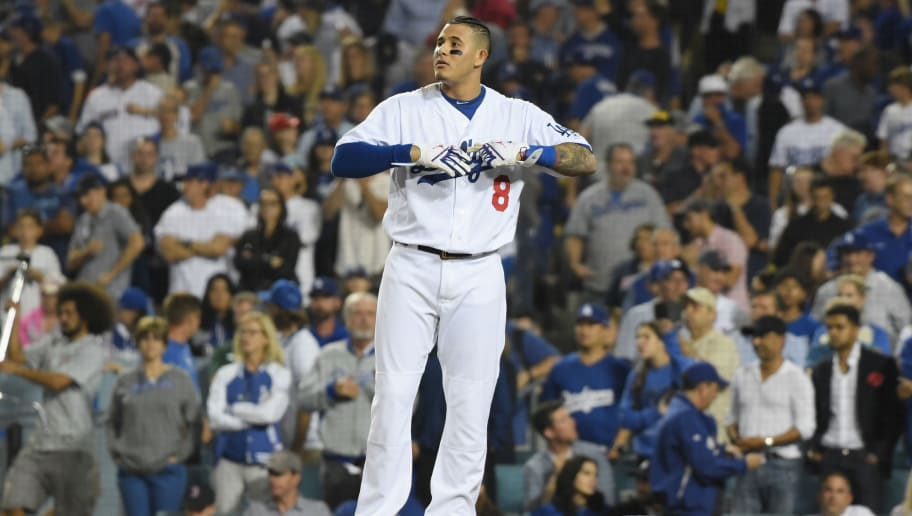 LOS ANGELES, CA - OCTOBER 26:  Manny Machado #8 of the Los Angeles Dodgers reacts to his eighth inning strike out against the Boston Red Sox in Game Three of the 2018 World Series at Dodger Stadium on October 26, 2018 in Los Angeles, California.  (Photo by Harry How/Getty Images)