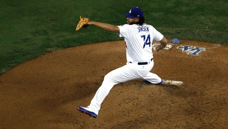 LOS ANGELES, CA - OCTOBER 26:  Kenley Jansen #74 of the Los Angeles Dodgers delivers the pitch during the eighth inning against the Boston Red Sox in Game Three of the 2018 World Series at Dodger Stadium on October 26, 2018 in Los Angeles, California.  (Photo by Sean M. Haffey/Getty Images)