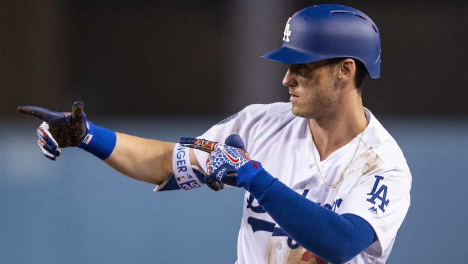 LOS ANGELES, CA - OCTOBER 26: Cody Bellinger #35 of the Los Angeles Dodgers reacts during the ninth inning of game three of the 2018 World Series against the Boston Red Sox on October 26, 2018 at Dodger Stadium in Los Angeles, California. (Photo by Billie Weiss/Boston Red Sox/Getty Images)