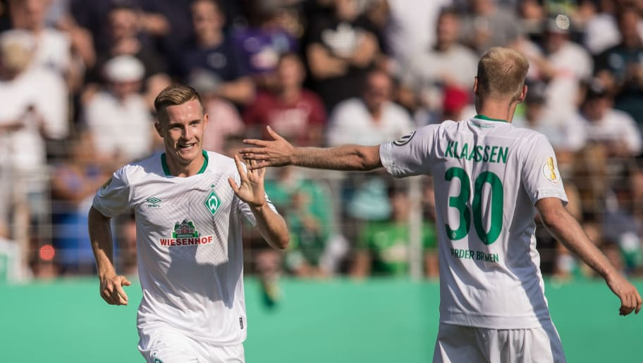 WORMS, GERMANY - AUGUST 18: Johannes Eggestein #24 of Werder Bremen celebrates after scoring a goal to make it 1-6 during Wormatia Worms and Werder Bremen DFB Cup first round match on August 18, 2018 in Worms, Germany. (Photo by Maja Hitij/Bongarts/Getty Images)