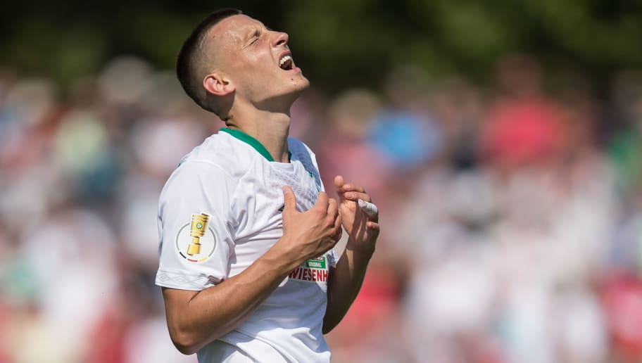 WORMS, GERMANY - AUGUST 18: Maximilian Eggestein #35 of Werder Bremen reacts during Wormatia Worms and Werder Bremen DFB Cup first round match on August 18, 2018 in Worms, Germany. (Photo by Maja Hitij/Bongarts/Getty Images)