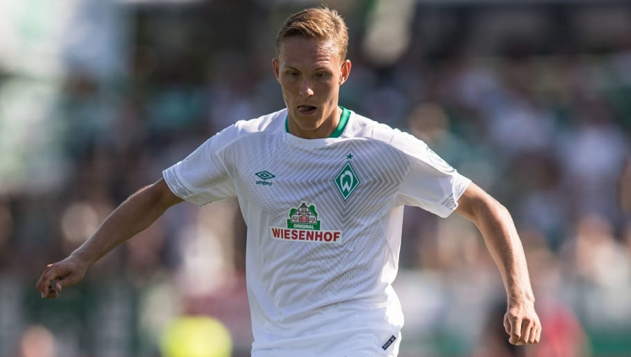 WORMS, GERMANY - AUGUST 18: Ludwig Augustinsson #5 of Werder Bremen controls the ball during Wormatia Worms and Werder Bremen DFB Cup first round match on August 18, 2018 in Worms, Germany. (Photo by Maja Hitij/Bongarts/Getty Images)